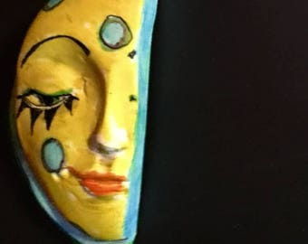 Handmade clay face  partial head cabochon mosaic tile woman lady craft supplies  handmade cabochon  mosaics dolls jewelry craft parts