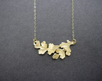 Leaf Necklace, Minimalist Necklace, Woodland Leaves, Nature Lover, Oak Leaf, Layering Necklace, Modern, Brass, Bridesmaid Gift, Gift for Her