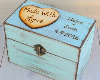 Rustic Recipe Box 4x6 Recipe Card Storage Painted and Distressed in the COLOR of YOUR CHOICE