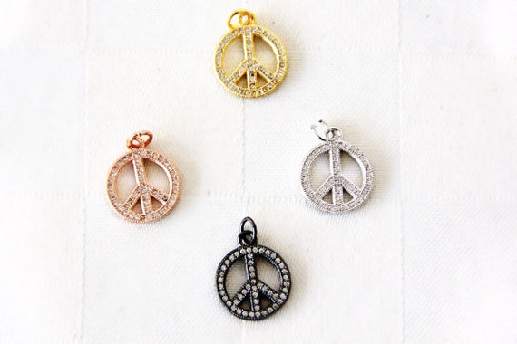 CZ Micro Pave 12mm Peace Sign  Charm with Jump Ring