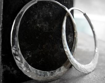 silver  hoop earrings, hammered endless hoops medium size