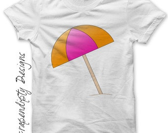 Iron on Beach Umbrella Shirt - Summer Iron on Transfer / Kids Boys Clothing Tops / Toddler Girls Beach Tshirt / Womens Summer Shirt IT129