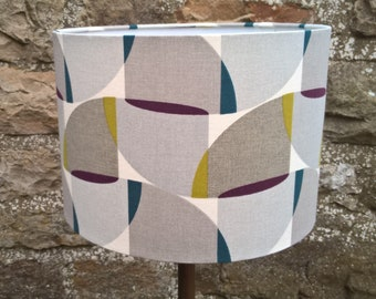 Geometric Print Drum Lamp Shade. Lampshade. Light shade. Room decor. Lighting. Contemporary. Grey.