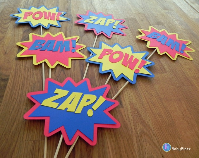 Photo Props: The Superhero Phrase Set (6 Pieces) - party wedding birthday mask pow bam zap super hero centerpiece