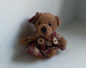 Plush teddy bear miniature vintage French