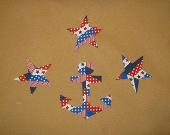 Handcut Anchor and 3 Stars Appliques - 4 pieces - Iron on Sew on - 2.50 - patriotic appliques, cotton applique, applique silhouette