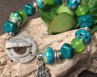 BEAUTIFUL SEA, artisan lampwork and sterling bracelet