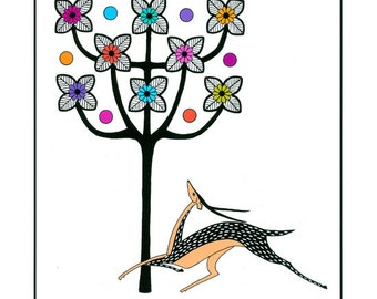 """10"""" x 8"""" Print Art Illustration Drawing Styised Deer With Tree Floral Decorative Art Nouveau Multicolored"""