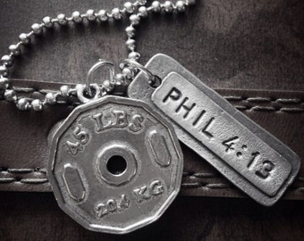 Bodybuilding Necklace. Weight Plate Necklace - John 3:16 Workout Necklace. Men's Necklace.