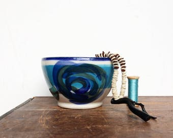 Vintage small blue pottery bowl catchall 80s pottery