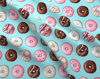 Frosted Donuts Fabric - Frosted Donuts By Tictactogs - Frosted Donuts Brown Pink White Turquoise Cotton Fabric By The Yard With Spoonflower