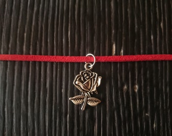 Beautiful red choker with 5 Disney inspired interchangeable charms! - 12-15""