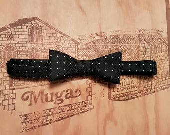 Vintage Akco Pre-tied Slim Double Bow Black & Silver Spotted Bow Tie