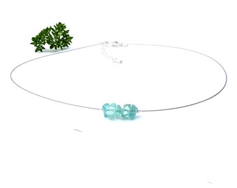 Crystal choker, natural stone necklace, blue apatite jewelry silver wire choker healing crystal stone jewelry silver necklace apatite shikky