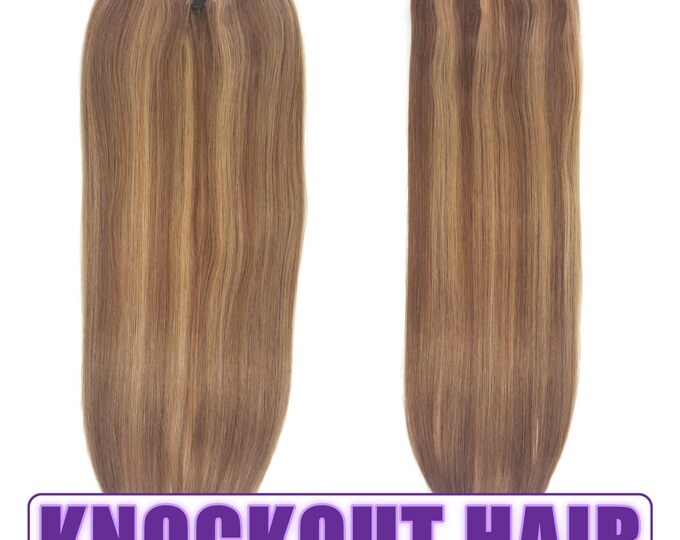 """Fits like a Halo Hair Extensions 20"""" Light Nat Brown/Dark Blonde Mix (#7A/7B) - Human No Clip In Flip In Couture by Knockout Hair"""