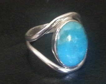 Turquoise Ring Size #9 Sterling Silver Kingman Turquoise Turquoise