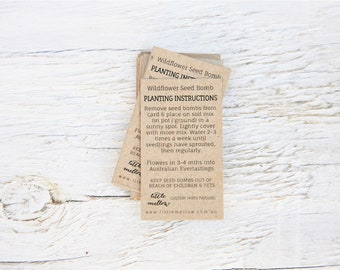 Wildflower Seed Bomb Planting Instruction Cards, 100% recycled card stock, Eco Paper