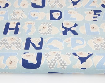 100% cotton fabric printed 50 x 160 cm, NAVY blue Alphabet