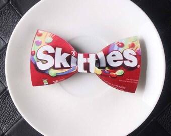 Men's Aspen Wood Bow Tie-Skittles, Coca Cola, Dollar, Super Mario, M&M