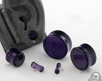 "Double Flare Royal Purple Glass Plugs 6g, 4g, 2g, 0g, 10mm, 7/16"", 1/2"" (12.5mm), 9/16"", 5/8"", 3/4"", 7/8"", 1"""