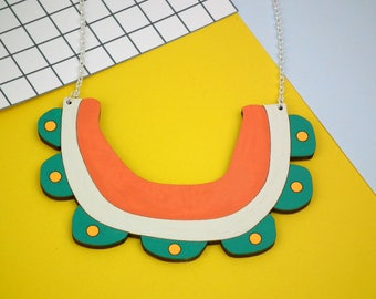 Statement Flower Bib Necklace - Laser Cut Jewellery - Chunky Wooden Necklace - Contemporary Collar - Bib Necklace - Eco Friendly Fashion