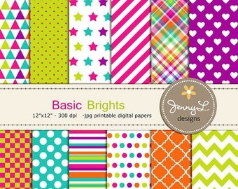 50% OFF Colorful Brights Digital Papers for Digital Scrapbooking, Invites,