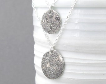 Silver Layering Necklace Silver Jewelry Floral Jewelry Bohemian Jewelry Rustic Jewelry Silver Pendant Necklace - Layering