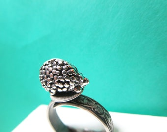 Valentines day gift-Hedgehog  Ring- Siver jewelry- Adjustable size Ring - porcupine  woodland jewelry-Hedgehog necklace