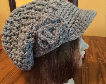 Textured Small Brimmed Crocheted Slouch