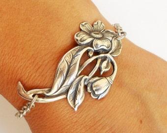 Steampunk Flower Bracelet Sterling Silver Ox Finish