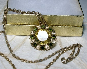 Vintage Avon Yellow and Green Rhinestone Pendant Brooch Necklace