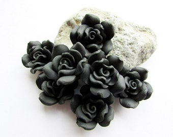 Fimo Polymer Clay Flower Beads 25 mm Black Rose Beads Fimo Flower Beads Polymer Clay Rose Beads Craft Supply (4)