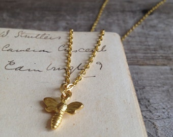 gold bee necklace - tiny bee charm - honey bee - gift for her - little bee pendant - woodland wedding