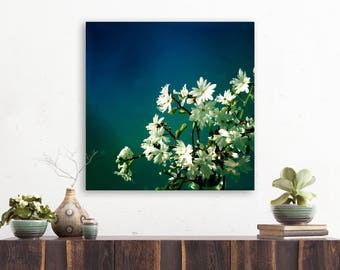 """large canvas wall art, large wall art, large colorful wall art, minimalist art, floral still life art, flowers, modern - """"Blossom and Blue"""""""