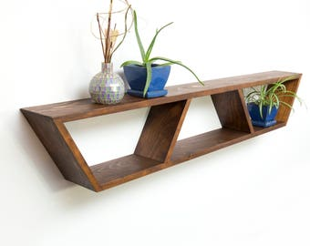 Mid Century Modern Shelf, Book Shelves, Floating Mantle Shelf, Geometric Shelving, Hanging Bedside Table, Wood Wall Shelves, Trapezoid Shelf