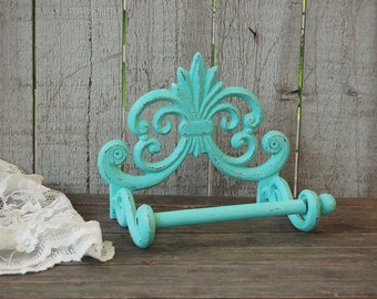 Bath Tissue Holder, Shabby Chic, Aqua, Hand Painted, Cast Iron, Metal, Distressed, Toilet Paper Holder, French Decor, Bathroom Decor