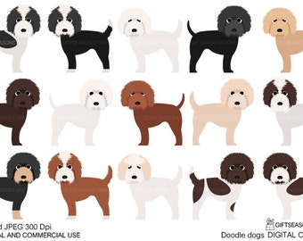 Doodle dogs Digital clip art for Personal and Commercial use - INSTANT DOWNLOAD
