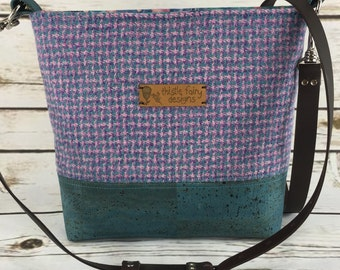 Ladies shoulder bag, cross body bag in a Limited edition pastel Harris Tweed and cork leather.