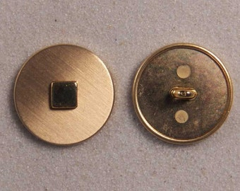 """Set of 6 JHB Intl Gold Round Metal Buttons Square Center 7/8"""" or 22 mm lyk0060"""