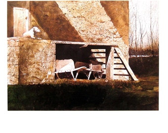 Andrew Wyeth Art - Grist Mill - 1992 Vintage Reproduction Book Page - 12 x 9