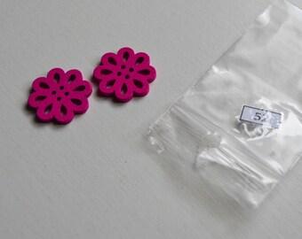 Set of 2 buttons 20 mm diameter pink bright lot 52