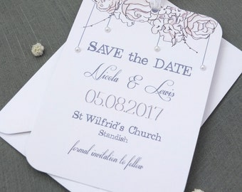 Rose Pearl Save The Date Tag Sample