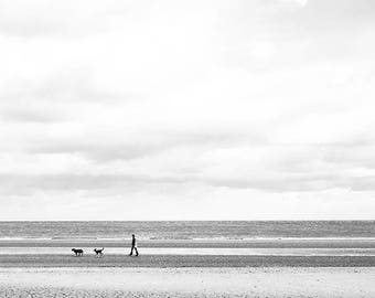 Minimal Wall Art, Dog lover Art, Black and White Photography, Coastal Wall Art, Minimal Wall Art, Ireland Gift, Ireland Print