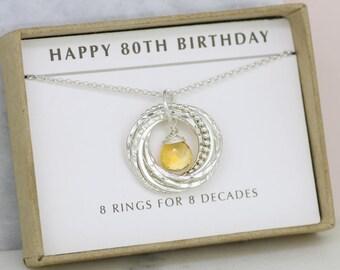 80th birthday gift, November birthstone necklace 80th, citrine necklace for 80th birthday, gift for grandma, mom - Lilia