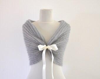 Gray Bridal Cape Wedding Wrap Bridal Shrug Mohair with Ribbon Grey Chic Romantic Elegant