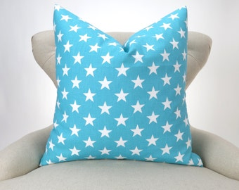 Blue Pillow Cover White Stars Pattern -MANY SIZES- Decorative Throw, Euro Sham, Big Pillow, Lumbar, Aqua Coastal Blue by Premier Prints