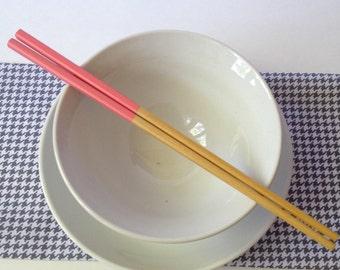 Coral Handpainted Bamboo Chopsticks