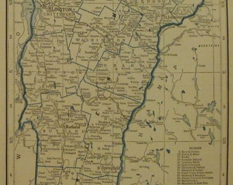 Vermont Map,Utah Map,Eden Salt Lake City Ogden Montpelier,USA State Maps,United States Map Art,Place on the World Map,2 Sided 1934 8x11 VS12