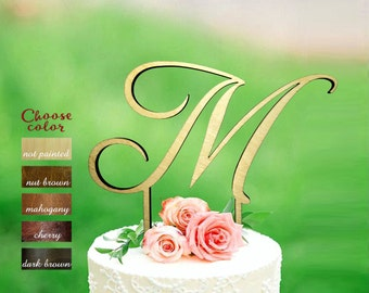 Letter m cake topper, cake toppers for wedding, wedding cake topper, monogram cake topper wedding, initial wooden, cake topper m, CT#189/2