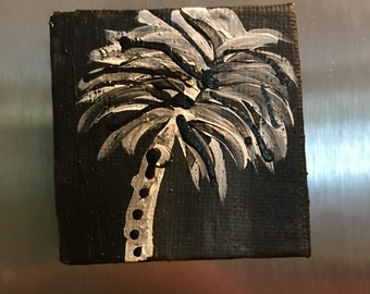 Hand painted fridge magnet/ acrylic canvas refridgerator magnet/ painted magnet/ palm tree magnet/black and white palm